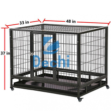"48"" Heavy Duty Steel Dog Crate Kennel Pet 2 Door Cage House w Wheels"