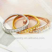 Gold plated crystal index finger rings with thick design