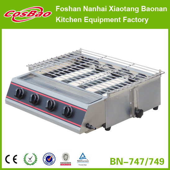 (BN-747/749) Stainless Steel Gas 4 Burner smokeless grill, bbq gas grill, korean bbq grill table machine
