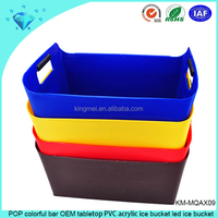 POP colorful bar OEM tabletop PVC acrylic ice bucket led ice bucket