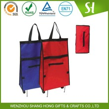 Wholesale reusable promotional foldable shopping trolley bag