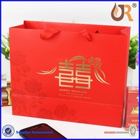 hand length handle sealing & handle custom logo white wedding paper gift bag with black ribbon