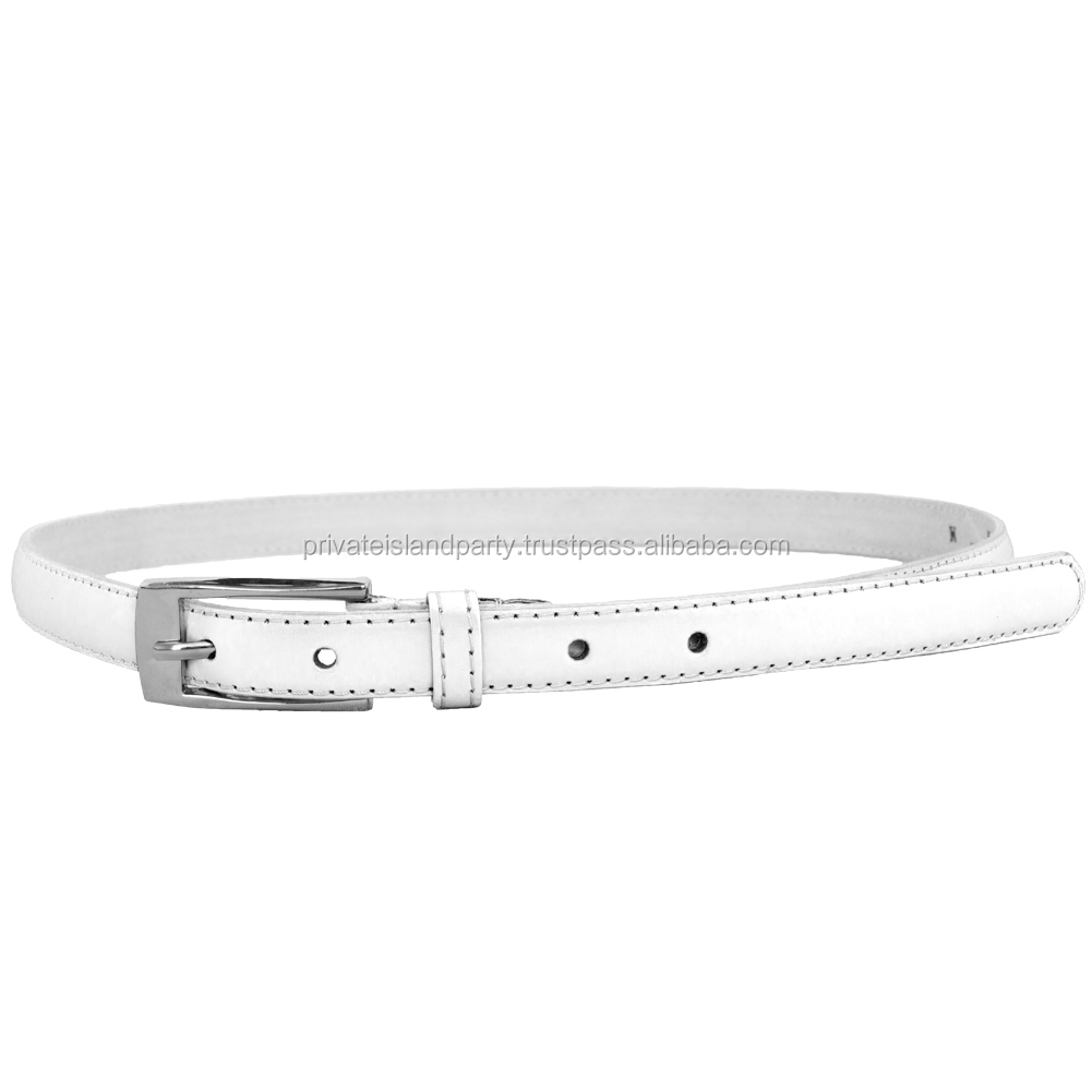 White Skinny Belt with Rectangle Buckle