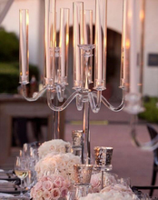 decoration wedding table centerpieces 5 lights crystal glass candelabra with lampshades