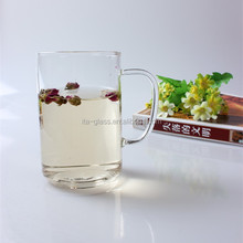 400ml promotional gift OEM decal logo high borosilicate eco-friendly wholesale clear glass coffee mug with handle
