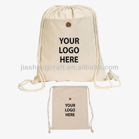Recycled foldable cotton canvas drawstring bag shopping bag for promotional