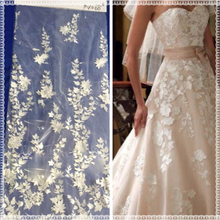 Wholesale dress material net embroidery lace 3d flowers fabric for wedding dress lace