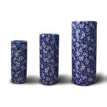 3 pcs a set cylinder shape quality blue and white ceramic indoor plant pots for whoelsale