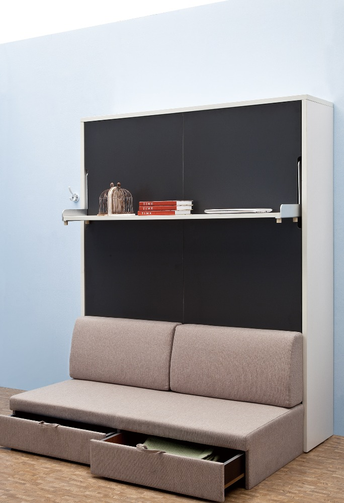 Spacing save wooden vertical wall bed slat frame mechanism spring folding wall beds with bookself and sofa