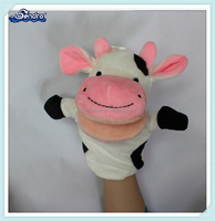 Cartoon character stuffed animal cow toy plush hand puppet for education