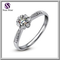 Luxury jewelry 925 sterling sun silver wedding ring with cz
