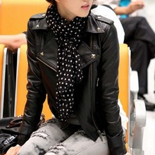 W4045 fashion zipper rivet pu leather jacket lady coat online shopping