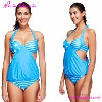 China factory cheap blue halter young swimsuit models pictures