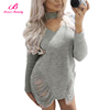 /product-detail/wholesale-gray-hanging-neck-short-casual-sweater-bodycon-dress-60742028077.html