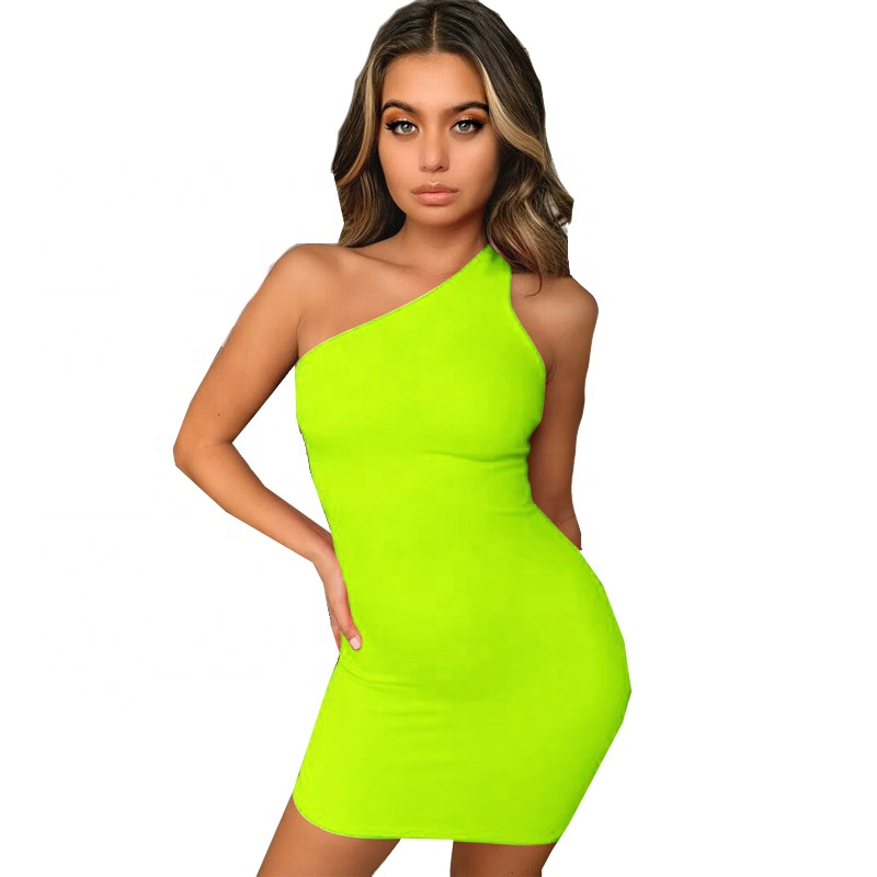 Summer Party Casual Women Solid Neon Mini Sleeveless Dress