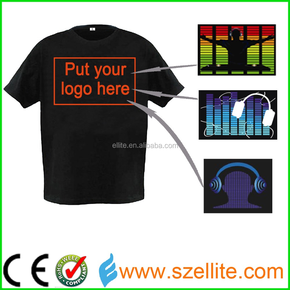 Customize your own logo for led party flashing t shirt for T shirts with your own logo