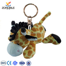 High quality promotional logo printing cheap price lovelyt custom stuffed plush giraffe keychain