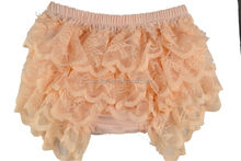 Light orange baby gilr lace bloomers short diaper covers wholesale baby bloomer