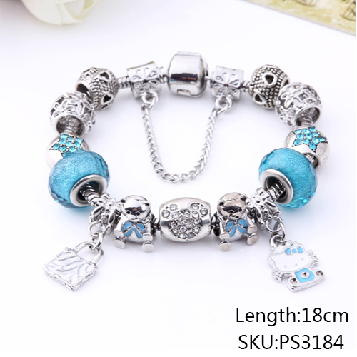 Valentine's Gift Murano Glass&Crystal Bead Fit Original Kitty Charm Bracelets Bangles For Women Girls Lovely Fine Jewelry ps3184