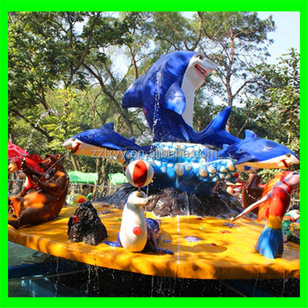 Cool summer rides! Funny aquatic park ride fighting shark island for sale