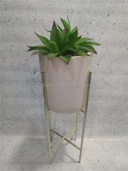 CEMENT FLOWER POT with metal stand