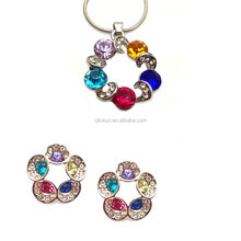 rainbow design flower necklace and earring fashion jewelry sets
