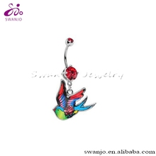 2014 Hot Design Stainless Steel Ruby Red Double Gem Rose Bird NavelBelly Button Ring Dangling Ring Fashion Body Piercing Jewelry