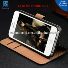 High Quality PU Leather Wallet Stand Cover Case for iPhone 4S 4