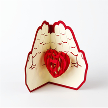 Wholesale 3d heart shape handmade greeting card,2017 hot sale Invitation card