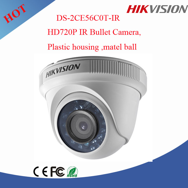 HD720P IR dome tvi camera with plastic housing metal ball Hikvision DS-2CE56C0T-IR