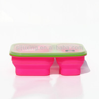 600ML+300ML Silicone Collapsible double case lunch box
