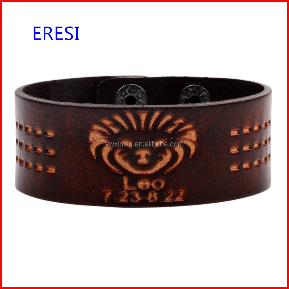 Made In China Hot Selling 12 Star Signs Bracelet In Brown Color Fashionable Leather Bangle Bracelet