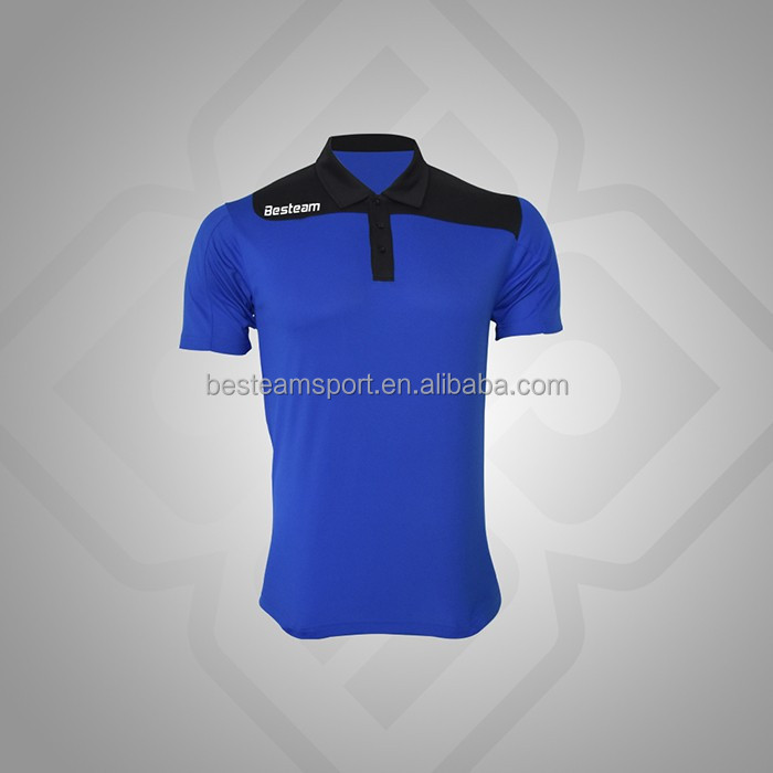 Royal Blue/Black design custom Customized made oem t-shirt polo shirt