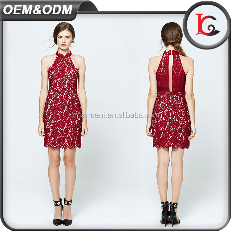good quality elegant cutting halter neck red lace slim fit dress summer new fashion ladies dress