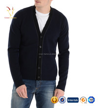 Button Front Men's Knitted Cashmere V Neck Cardigan