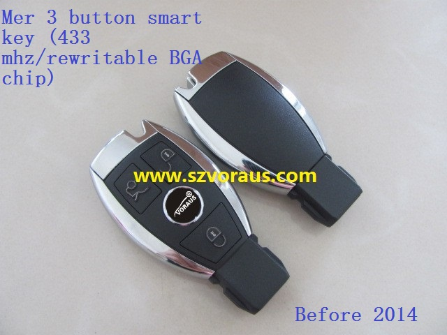 Mercede Keyless Entry Smart Remote Key 3 Button 433MHz rewritable BGA chip