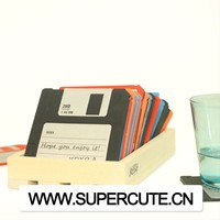 Novelty FLOPPY DISK Drink COASTERS -Set of 6 - Silicone Retro Coasters