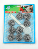 6pc kitchen cleaning ball stainless steel scourer with plastic handle