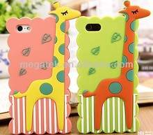 for iphone 5 cover silicone ,for iphone 5s cover ,cute giraffe 3d silicone phone case for iphone 5