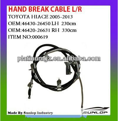 toyota hiace car parts hand break cable#000619 L/R 46430-26450,46420-26631 for hiace van,commuter,KDH200 #000619 quantum