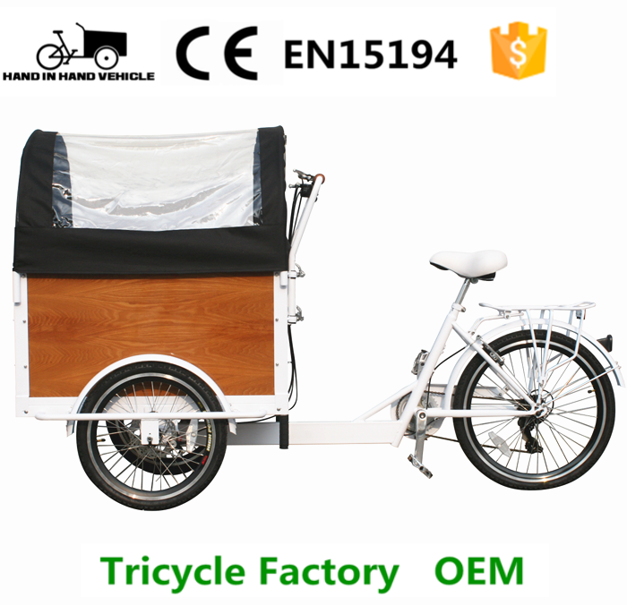 cargo tricycle with closed cargo box for carrying kids