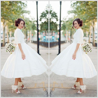 Graceful White A-line Strapless See Through Back Short Sleeve Lace Appliqued Tea Length Wedding Dresses With Jacket WD080