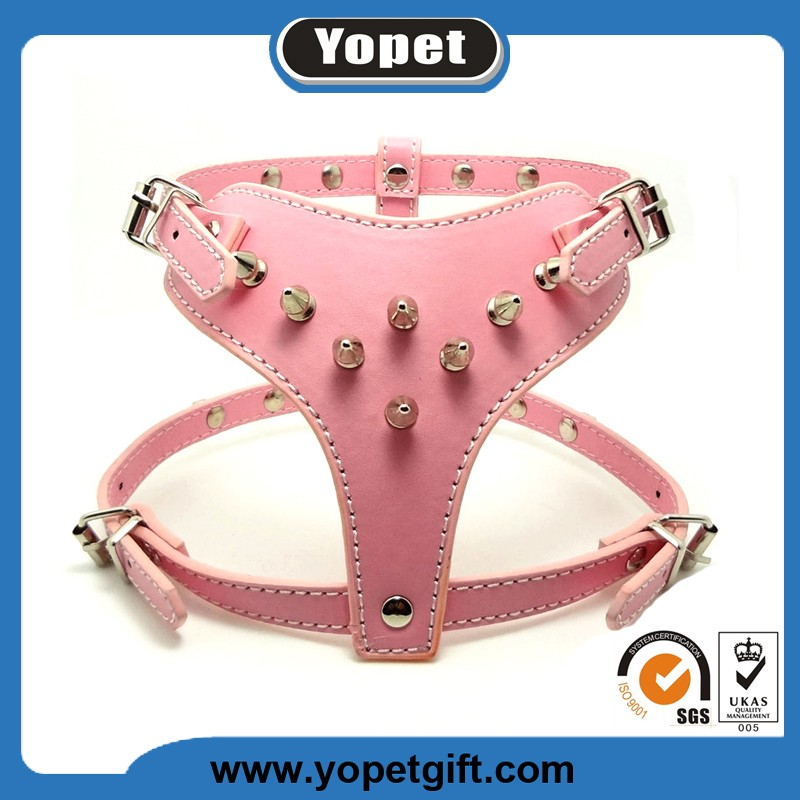 Pink Beautiful Style High Quality Leather Weighted Dog Harness
