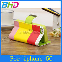 Rainbow color wallet case for iphone 5c
