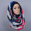 7 color ladies cotton printed geometric shawls stripe hijab wrap long muslim scarves/scarf GBS371