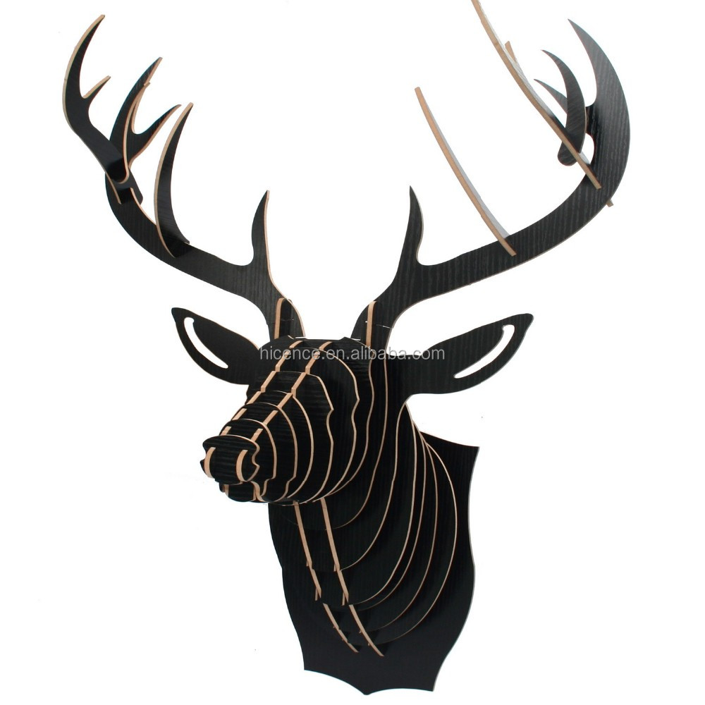 Hot sale and fancy wall-mounted wood animal head avatar