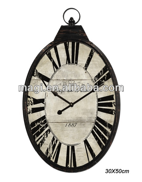Customized Antique decorative oval metal wall mounted clock