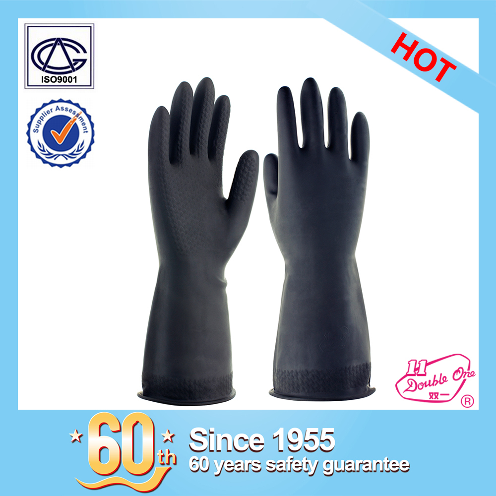 wholesale black industrial rubber safety work latex glove