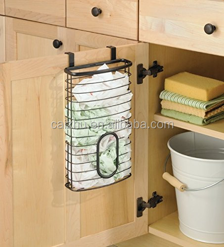 Over the Cabinet Kitchen metal Storage Holder for Plastic and Garbage Bags - black