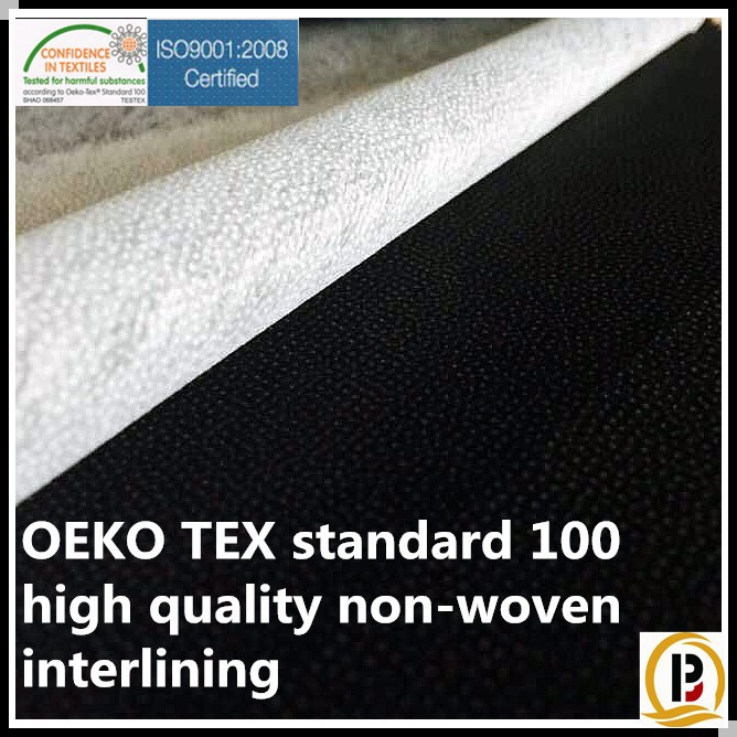 Nonwoven fabric/ China wholesale OEKO TEX 100 garment fusible interlining fusing/polyester fusible nonwoven interlining (#9025)